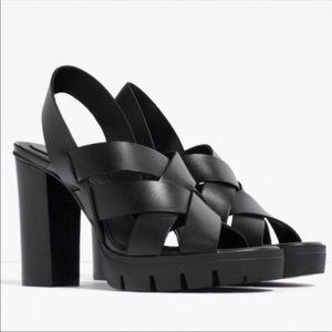 Zara Leather High Heeled Sandals